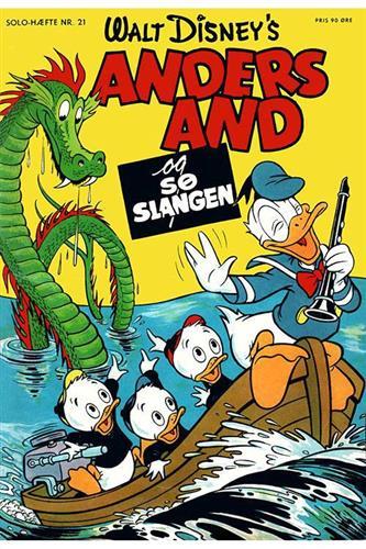 Forsiden til hæfteudgaven af Anders And og Søslangen