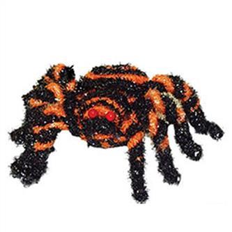 Edderkop med spiralmønster, sort/orange (7 cm)