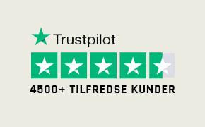 TrustPilot - over 4500 tilfredse kunder