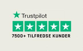 TrustPilot - over 7500 tilfredse kunder
